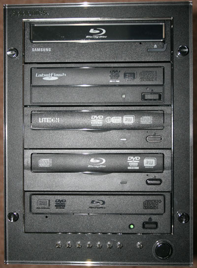 Front view of populated Addonics Storage Tower V